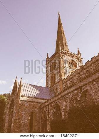 poster of Holy Trinity church in Stratford upon Avon UK vintage
