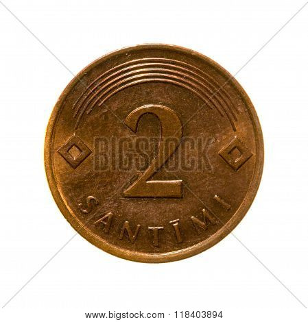 metal coins two centimes Latvia isolated on white background .revers poster