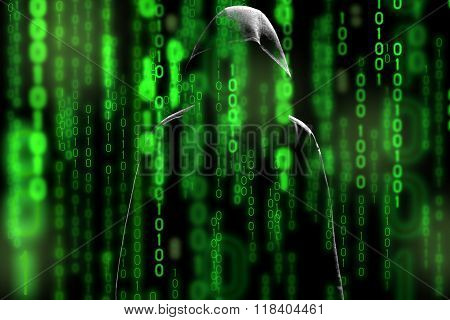 Computer hacker silhouette of hooded man with binary data screen and network security terms in the matrix theme