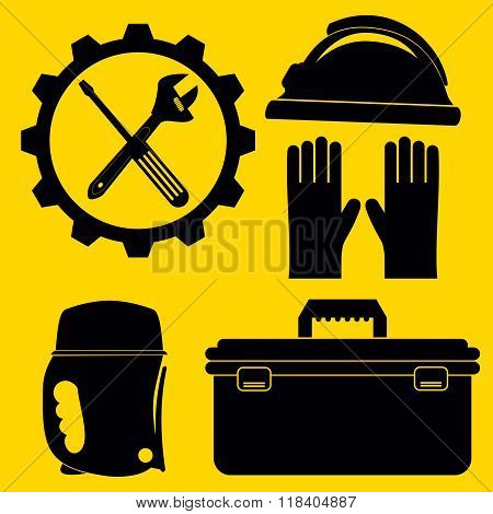 Vector Plumbing Icons Set.and Tools And Diy Tools. Silhouette Illustration
