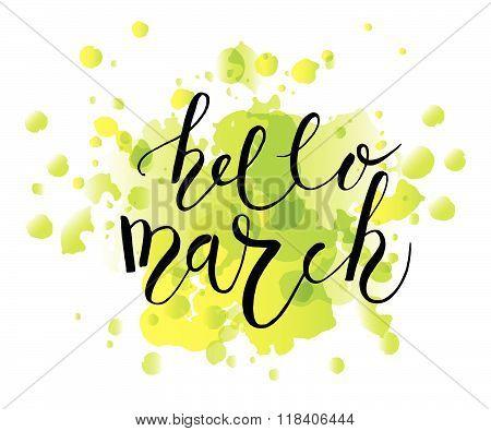 Hello March Postcard, Card, Invitation, Flyer, Banner Template.