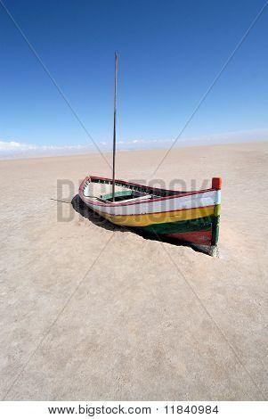 Boat in desert