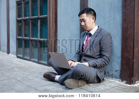 Business Man Working Outdoor - Work Anywhere Concept