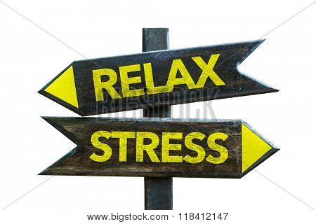 Relax - Stress signpost isolated on white background