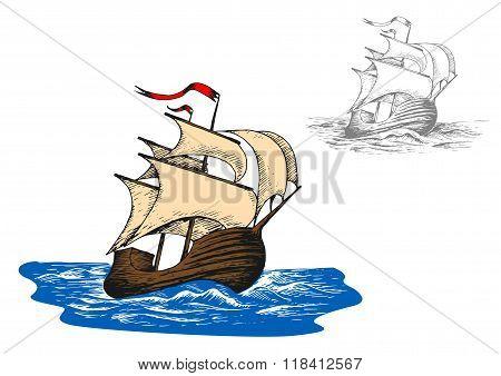 Ancient sail ship in ocean waves
