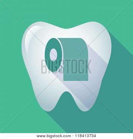 Long Shadow Tooth Icon With A Toilet Paper Roll