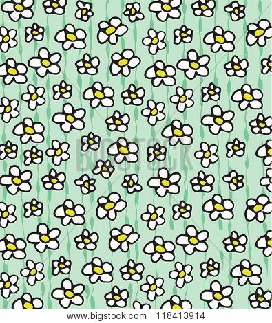 white daisies doodle background