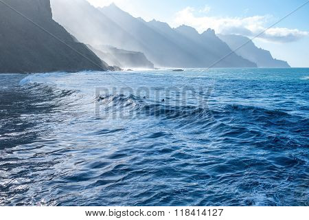 Beautiful landscape view on the ocean and rocky coastline near Taganana village in northeastern part of Tenerife island, Spain poster