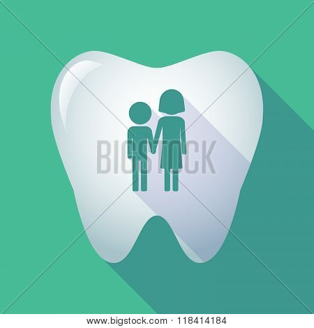Illustration of a long shadow tooth icon with a childhood pictogram poster