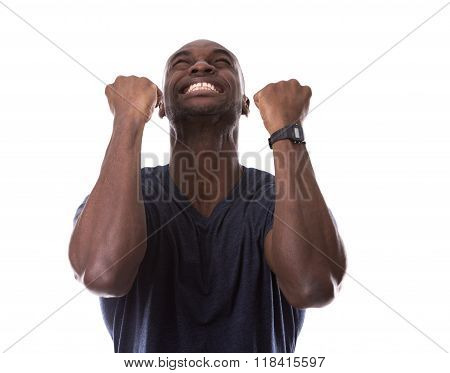 Handsome Black Man Thrilled With Excitement