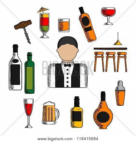 Bartender profession, cocktails and drinks