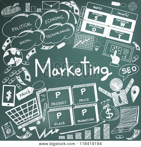 Business Management And Marketing Advertisement Education Chalk Handwriting Doodle Icon Of Sign Symb