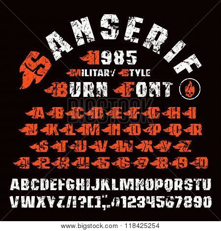 Sanserif Font And Set Of Initial Letter