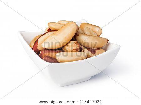 Brazil nuts  on a white background
