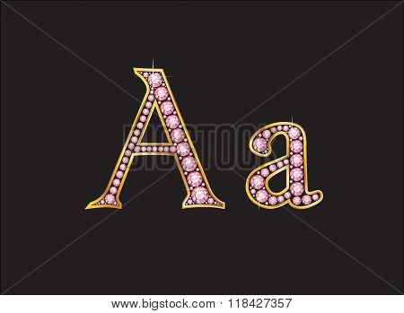 Aa Rose Quartz Jeweled Font With Gold Channels