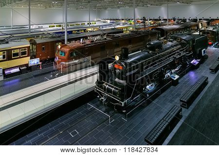 NAGOYA JAPAN - NOVEMBER 18 2015: The SCMaglev and Railway Park features 39 full-size railway vehicles and one bus exhibit train cab simulators and railway model dioramas