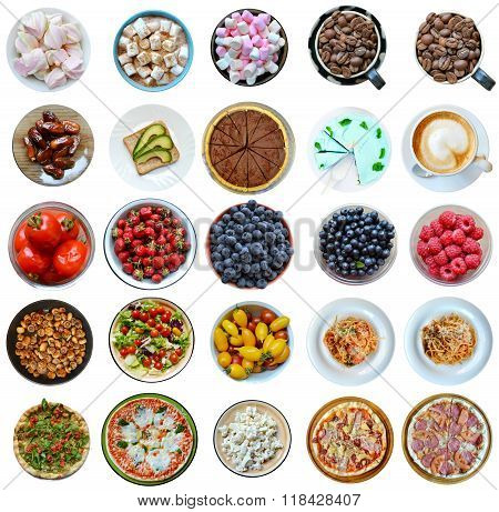 Collage of different kinds of healthy and unhealthy foods isolated on white poster