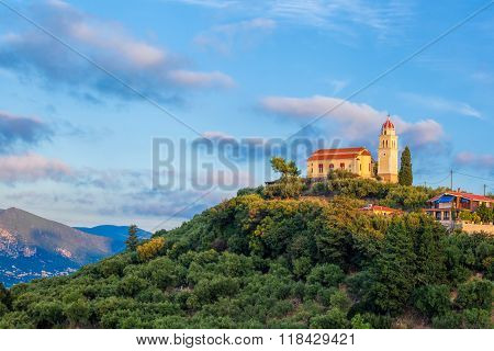Zakynthos Island With Church On The Top Of Hill In Greece