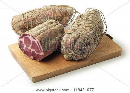 Cutting Board With Air-cured Pork Meat Coppa