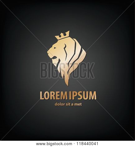 lion head in profile. Template Logo