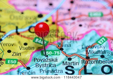 Povazska Bystrica pinned on a map of Slovakia