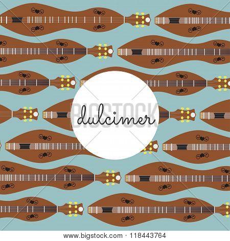 Folk String Instrument Dulcimer On A Colored Background