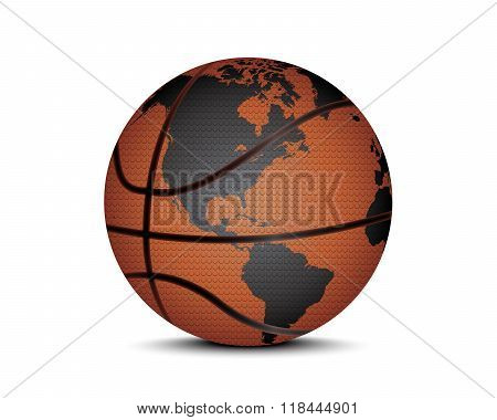 Basket Ball With World Map
