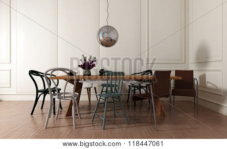 Modern Dining Room Interior with Simple Wooden Table and Mismatched Chairs with Disco Ball and Flower Vase - Contemporary Home Interior with White Walls and Trendy Furnishings. 3d Rendering.