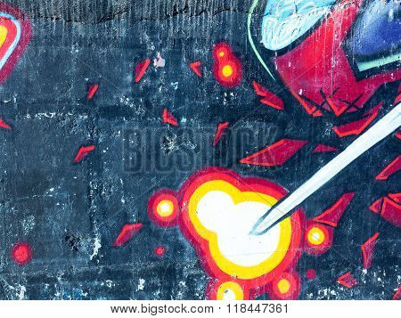 Zhitomir, Ukraine - February 7: Detail Of Graffiti On A Concrete Wall. Grungy Concrete Surface With