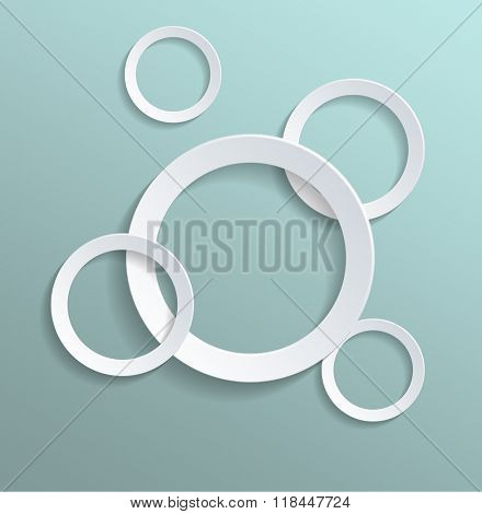 High Angle View of Plain White Paper Cut Out Rings of Various Sizes on Sea Green Turquoise Pastel Colored Background with Ample Copy Space. 3d Rendering.