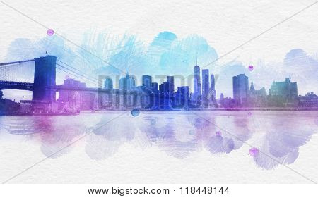 Purple New York City skyline near East River as abstract watercolor postcard with copy space
