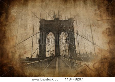 Straight view of Brooklyn Bridge in New York City with aged sepia appearance for historic postcard