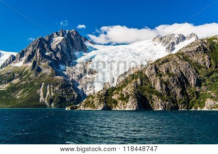 Mountains Draped With Glaciers In Prince William Sound