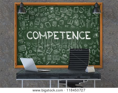 Competence - Hand Drawn on Green Chalkboard.