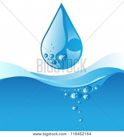 Water Drop And Blue Wave On White Background