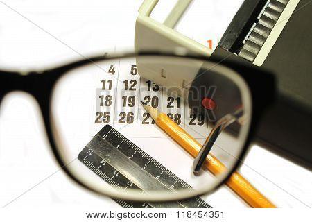 Desktop Through The Eyepiece On White Background