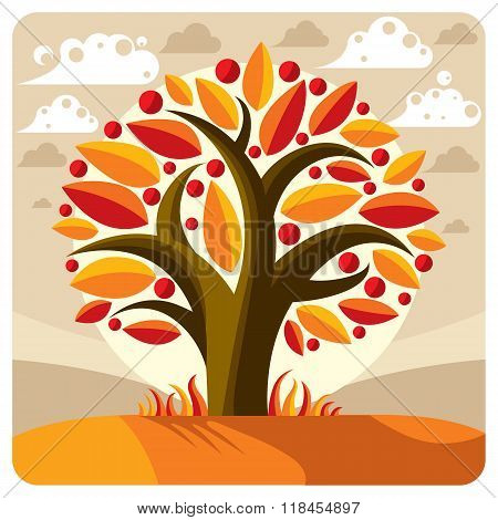 Fruity Tree With Ripe Apples Placed On Stylized Background. Organic And Eco Food Idea Vector Image,