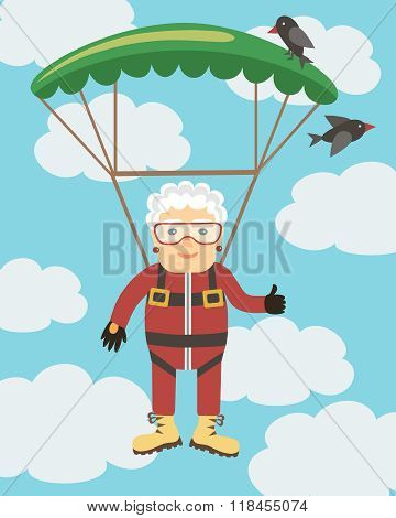 Vector illustration in a flat style. Happy women flying with parachute. poster