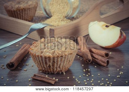 Vintage Photo, Fresh Muffins With Millet Groats, Cinnamon And Apple Baked With Wholemeal Flour, Deli