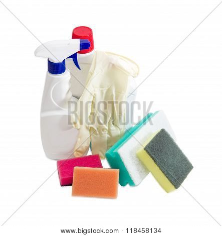 Various Cleaning Sponges, Bottles Of Cleaning Agent, Rubber Gloves