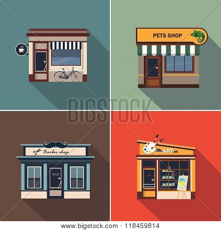 Stores and Shop Facades. Colourful Vector Illustration Set