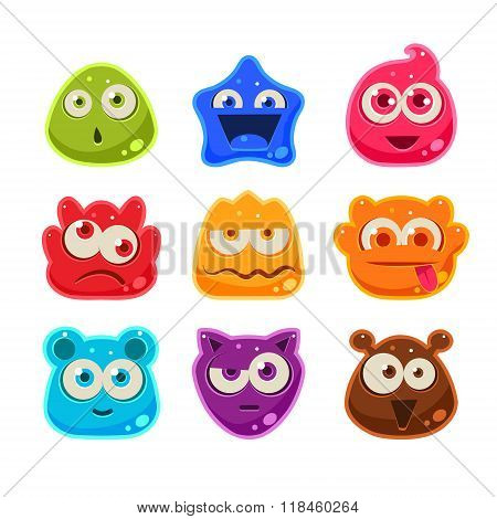 Bright Jelly Characters with Emotions. Vector Illustration