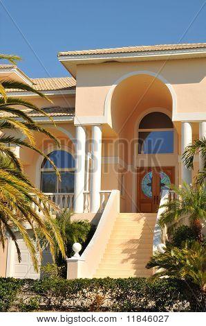 Entryway to an elegant mansion