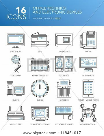 Detailed thin line icons - Office technics and electronic devices