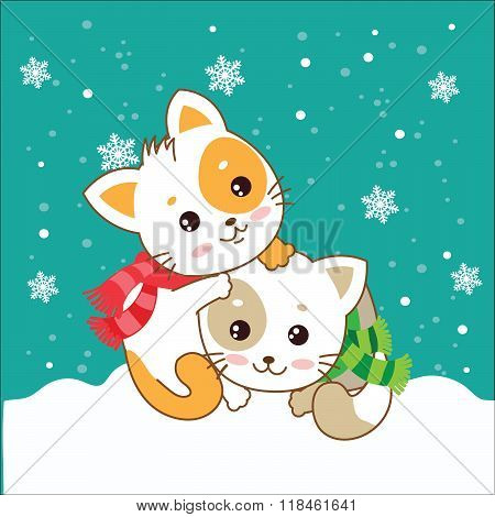 Two Kittens. Cats In The Snow. Vector Kittens. Cats In The Winter. The Cats Play. Playful Cats. Cats And Snow. Vector Illustration. Two Joyful Cats. Cats As Pets. Winter Games. Two Kittens Hugging.
