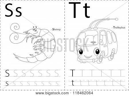 Cartoon Shrimp And Trolleybus. Alphabet Tracing Worksheet: Writing A-z And Educational Game For Kids