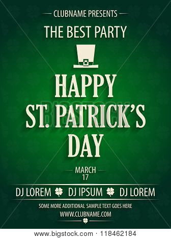 St. Patrick's Day party invitation with hat