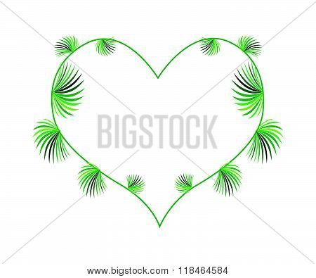 Lady Palm Leaves In A Heart Shape