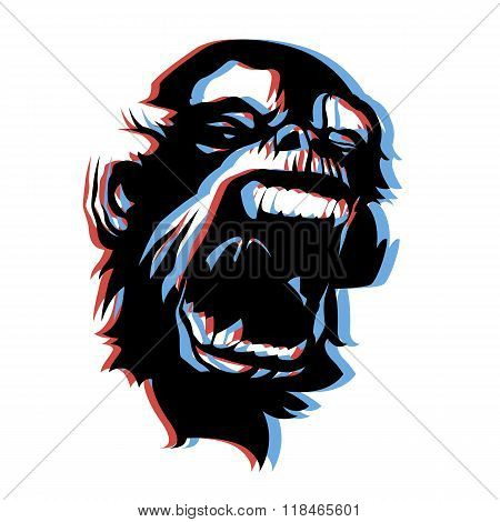 Very angry screaming monkey face 3D anaglyph style