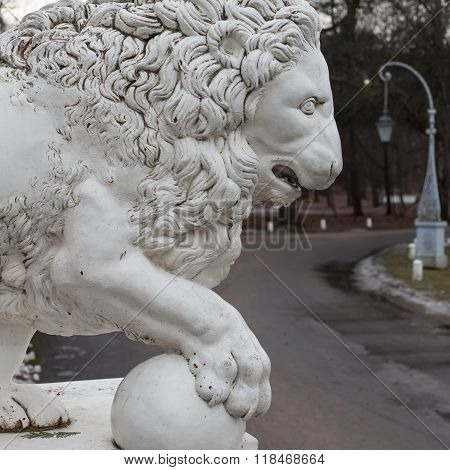 Cast iron lion at the Yelagin Palace, St. Petersburg, Russia